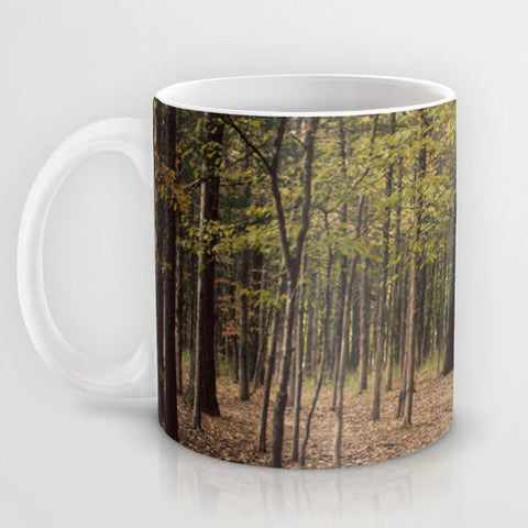 Art Coffee Cup Mug In the Woods 1 Modern Photography home decor Java Lovers forest green trees brown branches mother nature earth tones - Sylvia Coomes