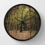 Art Wall Clock In the Woods 1 Modern Photography home decor forest green trees mother nature earth tones brown branches lake house decor - Sylvia Coomes
