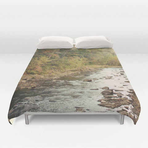 Art Duvet Cover In the Woods 2 Modern Photography home decor Bed Cover scenic Green brown stream mother nature landscape bedding Queen king - Sylvia Coomes
