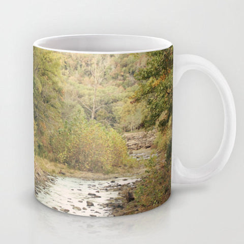 Art Coffee Cup Mug In the Woods 2 Modern Photography home decor Java Lovers forest green trees brown scenic landscape nature earth tones