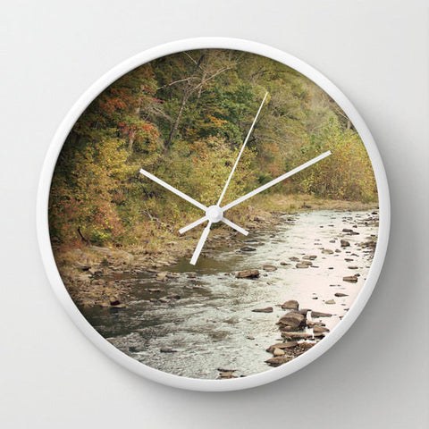 Art Wall Clock In the Woods 2 Photography lake house home decor forest green trees mother nature earth tones brown branches stream landscape - Sylvia Coomes