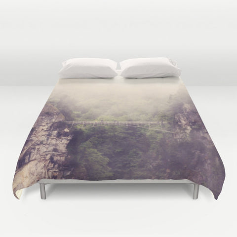 Art Duvet Cover Breathtaking Modern Photography home decor Bed Cover Mountains gray grey tan Forest Green purple tones bedding Queen king - Sylvia Coomes