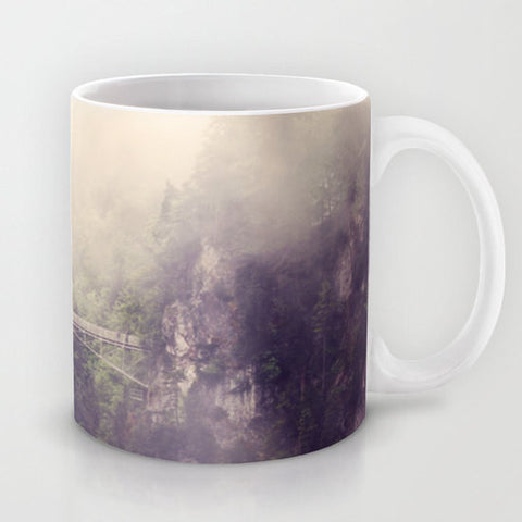 Art Coffee Cup Mug Breathtaking Modern Photography home decor Java Lovers forest green trees gray grey tan purple tones mountains bridge tan