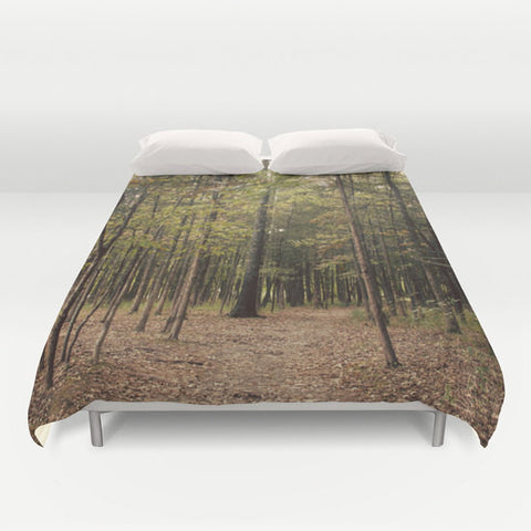 Art Duvet Cover In the Woods 1 Modern Photography home decor Bed Cover Forest Green brown woods mother nature earth tones bedding Queen king