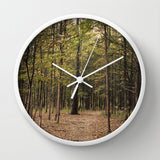 Art Wall Clock In the Woods 1 Modern Photography home decor forest green trees mother nature earth tones brown branches lake house decor
