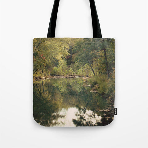 Art Tote Beach Bag In the Woods 3 photography green forest brown woods trees mother nature pond reflection scenic landscape lake fashion