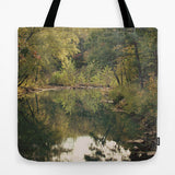 Art Tote Beach Bag In the Woods 3 photography green forest brown woods trees mother nature pond reflection scenic landscape lake fashion - Sylvia Coomes