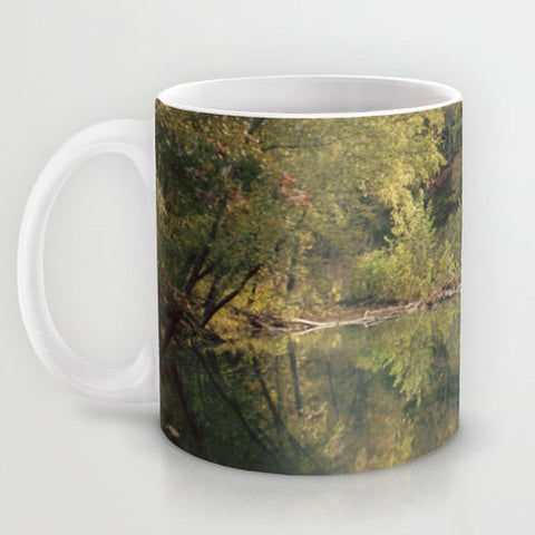 Art Coffee Cup Mug In the Woods 3 Photography home decor Java Lovers green trees brown scenic landscape nature earth tones pond reflection - Sylvia Coomes