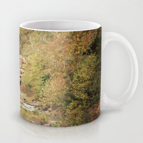 Art Coffee Cup Mug In the Woods 4 Photography home decor Java Lovers green trees brown scenic landscape nature earth tones yellow path rocks - Sylvia Coomes