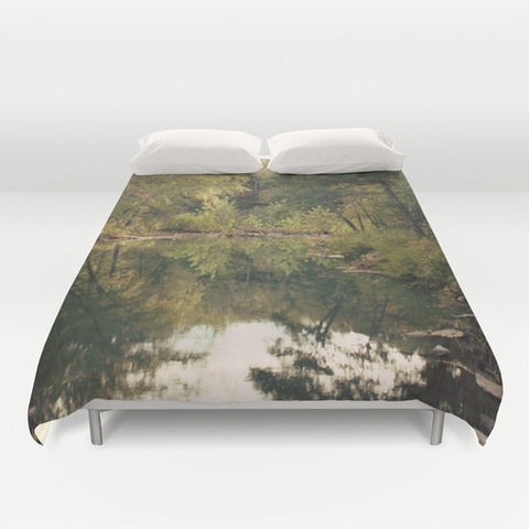 Art Duvet Cover In the Woods 3 Photography home decor Bed Cover scenic Green brown pond reflection nature landscape bedding Queen king - Sylvia Coomes