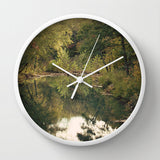 Art Wall Clock In the Woods 3 Photography lake house home decor forest green trees mother nature earth tones brown pond reflection landscape - Sylvia Coomes