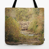 Art Tote Beach Bag In the Woods 4 photography green yellow brown woods trees mother nature stream rock path scenic landscape lake fashion