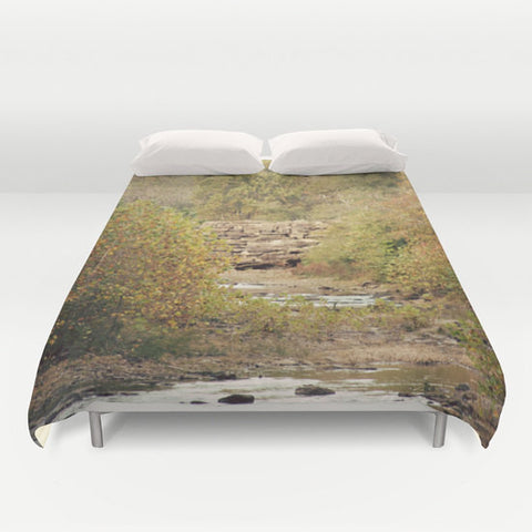 Art Duvet Cover In the Woods 4 Photography home decor Bed Cover scenic yellow Green brown stream path nature landscape bedding Queen king - Sylvia Coomes