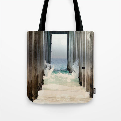 Art Tote beach Bag Boardwalk 2 fine art photography Summer Fashion ocean blue water wave sand brown wood beams geometric california light - Sylvia Coomes