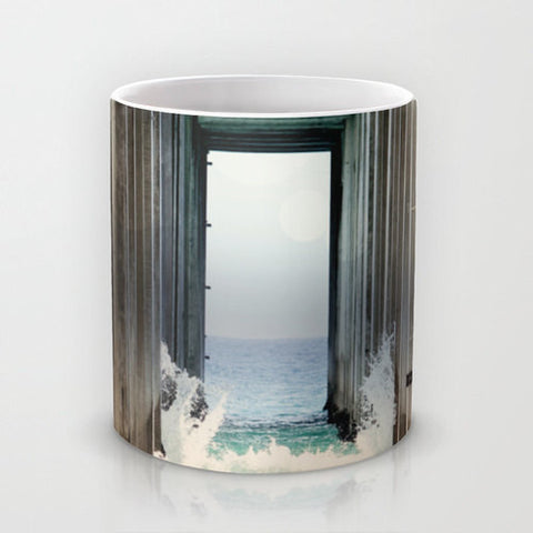 Art Coffee Cup Mug Boardwalk 2 Modern Geometric Nautical Beach photography home decor Java Lovers ocean blue water wave crashing sand