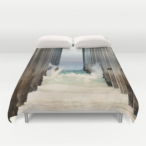 Art Duvet Cover Boardwalk 2 photography home decor ocean blue water wave sand brown wood beams geometric california light beach house decor
