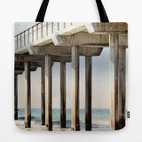 Art Tote beach Bag Boardwalk 3 photography Summer Fashion ocean blue water sand brown wood beams geometric gray grey california light lines - Sylvia Coomes