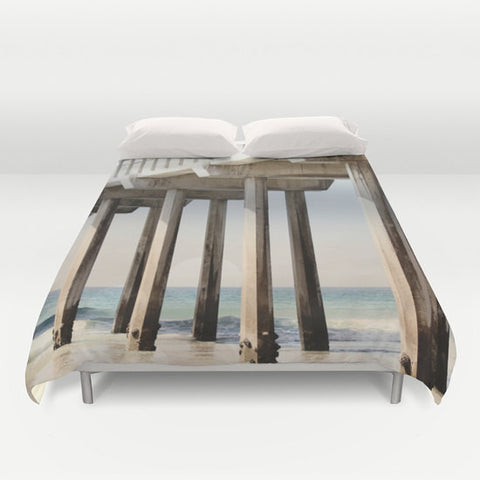 Art Duvet Cover Boardwalk 3 photography home decor ocean blue water sand brown wood beams geometric california light beach house decor gray - Sylvia Coomes