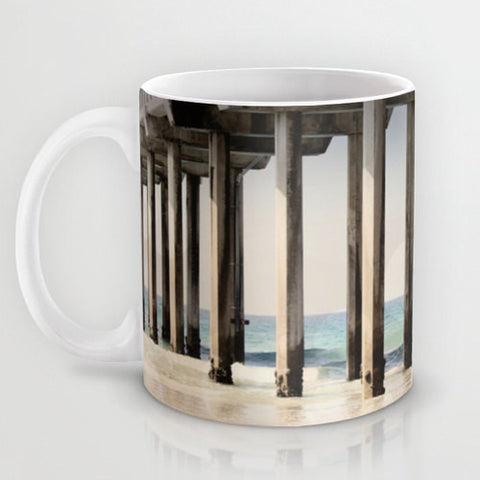 Art Coffee Cup Mug Boardwalk 3 Modern Geometric lines Nautical Beach photography home decor Java Lovers ocean blue water gray grey tan sand - Sylvia Coomes