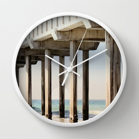 Art Wall Clock Boardwalk 3 Modern Geometric Nautical photography home decor Circles Lines beach house decor blue ocean gray grey tan sand - Sylvia Coomes