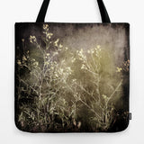 Art Tote beach Bag Wild Darkness photography Fashion photograph grey gray black nature Gothic photo wild flowers weed texture tan green