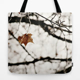 Art Tote beach Bag Frozen photography Fashion winter white snow photograph Brown gray black leaf frost nature tree neutral earth tones photo