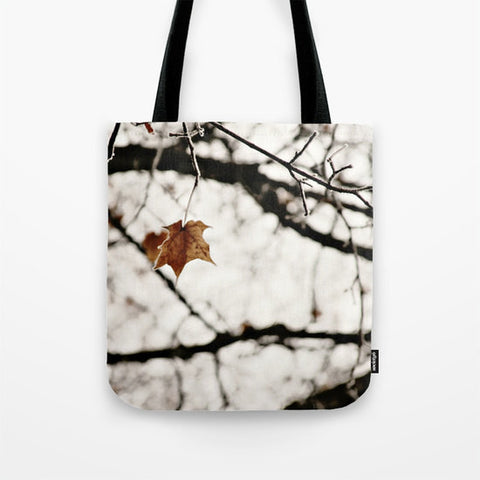 Art Tote beach Bag Frozen photography Fashion winter white snow photograph Brown gray black leaf frost nature tree neutral earth tones photo - Sylvia Coomes