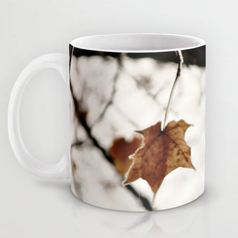 Art Coffee Cup Mug Frozen Geometric lines photography home decor Java Lover white leaf frost Brown gray black nature tree neutral earth tone - Sylvia Coomes