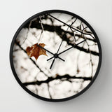 Art Wall Clock Frozen Modern Geometric photography home decor white leaf frost snow Brown gray black nature tree neutral earth tones photo - Sylvia Coomes