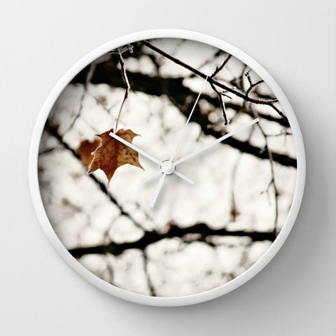 Art Wall Clock Frozen Modern Geometric photography home decor white leaf frost snow Brown gray black nature tree neutral earth tones photo