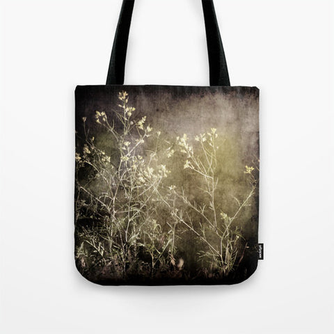 Art Tote beach Bag Wild Darkness photography Fashion photograph grey gray black nature Gothic photo wild flowers weed texture tan green - Sylvia Coomes