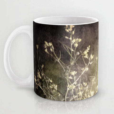 Art Coffee Cup Mug Wild Darkness photography home decor Java Lover grey gray black nature Gothic wild flowers weeds photo green tan texture - Sylvia Coomes