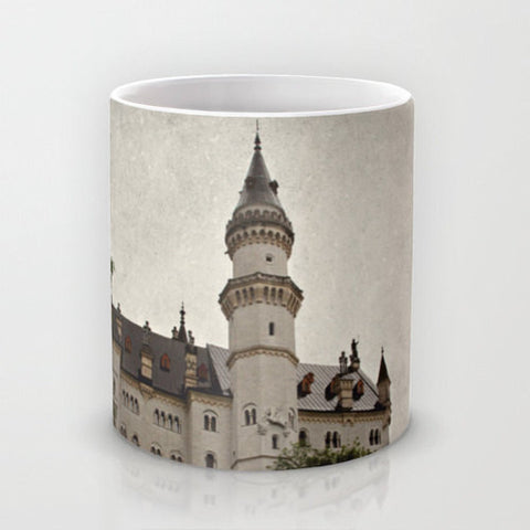 Art Coffee Cup Mug Neuschwanstein Castle photography home decor Java Lovers grey gray black Gothic photo texture Germany German Renaissance - Sylvia Coomes