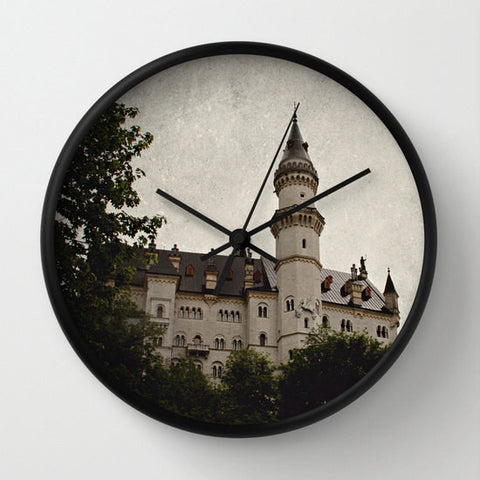 Art Wall Clock Neuschwanstein Castle Modern photography home decor grey gray black Gothic photo texture wall art German Germany Renaissance - Sylvia Coomes