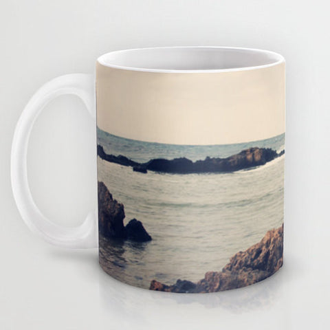 Art Coffee Cup Mug Mediterranean 1 photography home decor Java Lovers grey gray sky nautical photo Beach navy blue tan ocean sea earth tones - Sylvia Coomes
