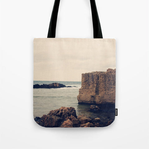 Art Tote beach Bag Mediterranean 1 photography Fashion photograph grey gray storm clouds photo Navy blue Nautical Ocean Beach Bag sea tan - Sylvia Coomes