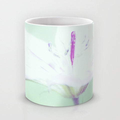 Art Coffee Cup Mug Delicate Flower photography home decor Java Lovers Mint Green Pastel Purple white photo abstract photograph feminine mug - Sylvia Coomes
