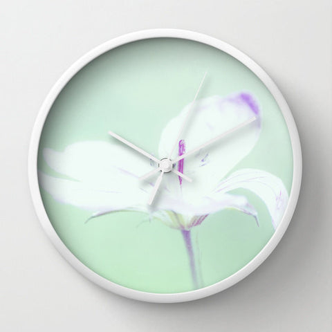 Art Wall Clock Delicate Flower Modern photography home decor Mint green pastel purple white photo shabby cottage chic House wall art clock - Sylvia Coomes