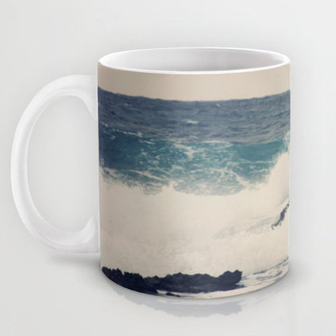 Art Coffee Cup Mug Ocean Blue photography home decor Java Lovers grey gray tan sky nautical photo Beach navy blue ocean sea earth tones wave - Sylvia Coomes