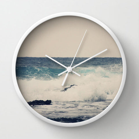 Art Wall Clock Ocean Blue Modern photography home decor grey gray tan Nautical photo Beach House wall art clock navy blue ocean sea wave - Sylvia Coomes