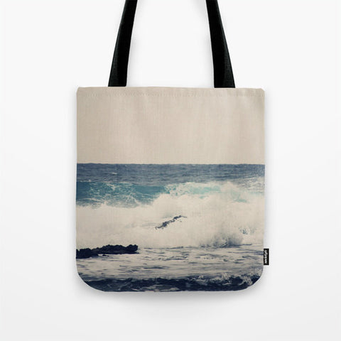 Art Tote beach Bag Ocean Blue photography Fashion photograph gray tan tones photo Navy blue Nautical Ocean Beach Bag sea wave grey - Sylvia Coomes