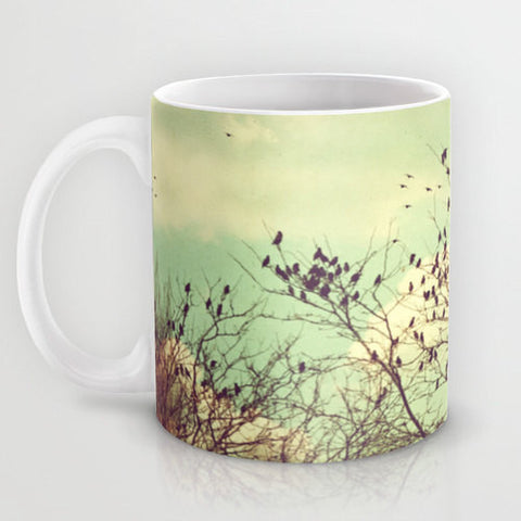 Art Coffee Cup Mug Birds of a Feather photography home decor Java Lovers Mint Green sky Vintage Style photo earth tones brown tree branches - Sylvia Coomes