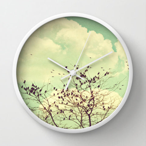 Art Wall Clock Birds of a Feather Modern photography home decor Mint Green Sky photo Vintage style wall art clock brown tree branches nature