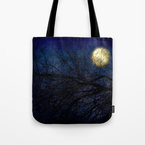 Art Tote beach Bag Blue Moon photography Fashion photograph photo Navy Royal blue full moon stars sky Gothic star dark art - Sylvia Coomes