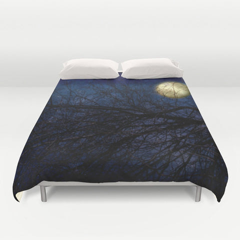 Art Duvet Cover Blue Moon photography home decor photograph Royal Navy Blue sky photo stars star nature bedding full queen king bedroom - Sylvia Coomes