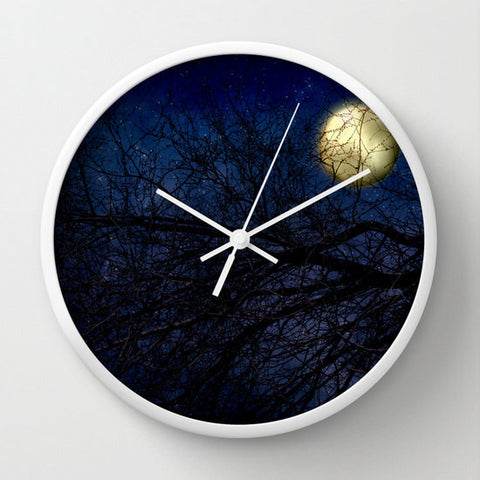Art Wall Clock Blue Moon Modern photography home decor Navy Royal Blue Sky photo full moon wall art clock black tree branches nature Gothic - Sylvia Coomes