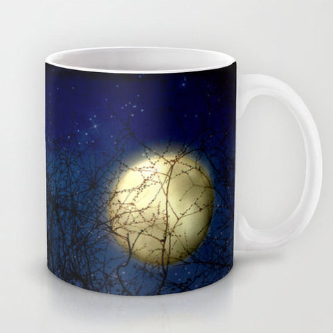 Art Coffee Cup Mug Blue Moon photography home decor Java Lovers Navy Royal Blue sky full moon photo black silhouette tree branches Gothic - Sylvia Coomes