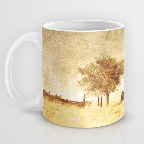 Art Coffee Cup Mug Alone photography home decor Java Lovers tan gold yellow tones photo one tree dark sage green texture rustic country - Sylvia Coomes
