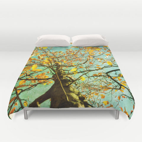 Art Duvet Cover A Different Perspective photography home decor photograph aqua sky photo yellow nature tree bedding full queen king bedroom - Sylvia Coomes