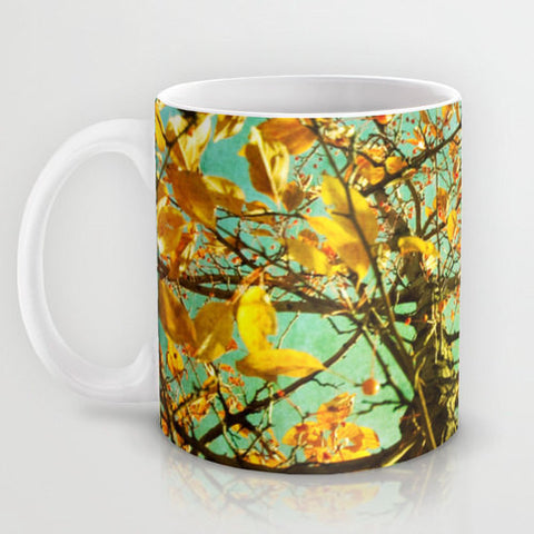 Art Coffee Cup Mug A Different Perspective photography home decor Java Lovers mustard yellow photo abstract tree green aqua blue sky orange - Sylvia Coomes